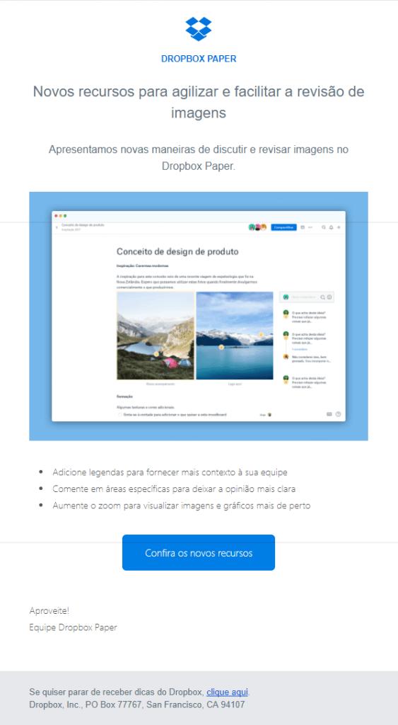 exemplos de e-mail marketing